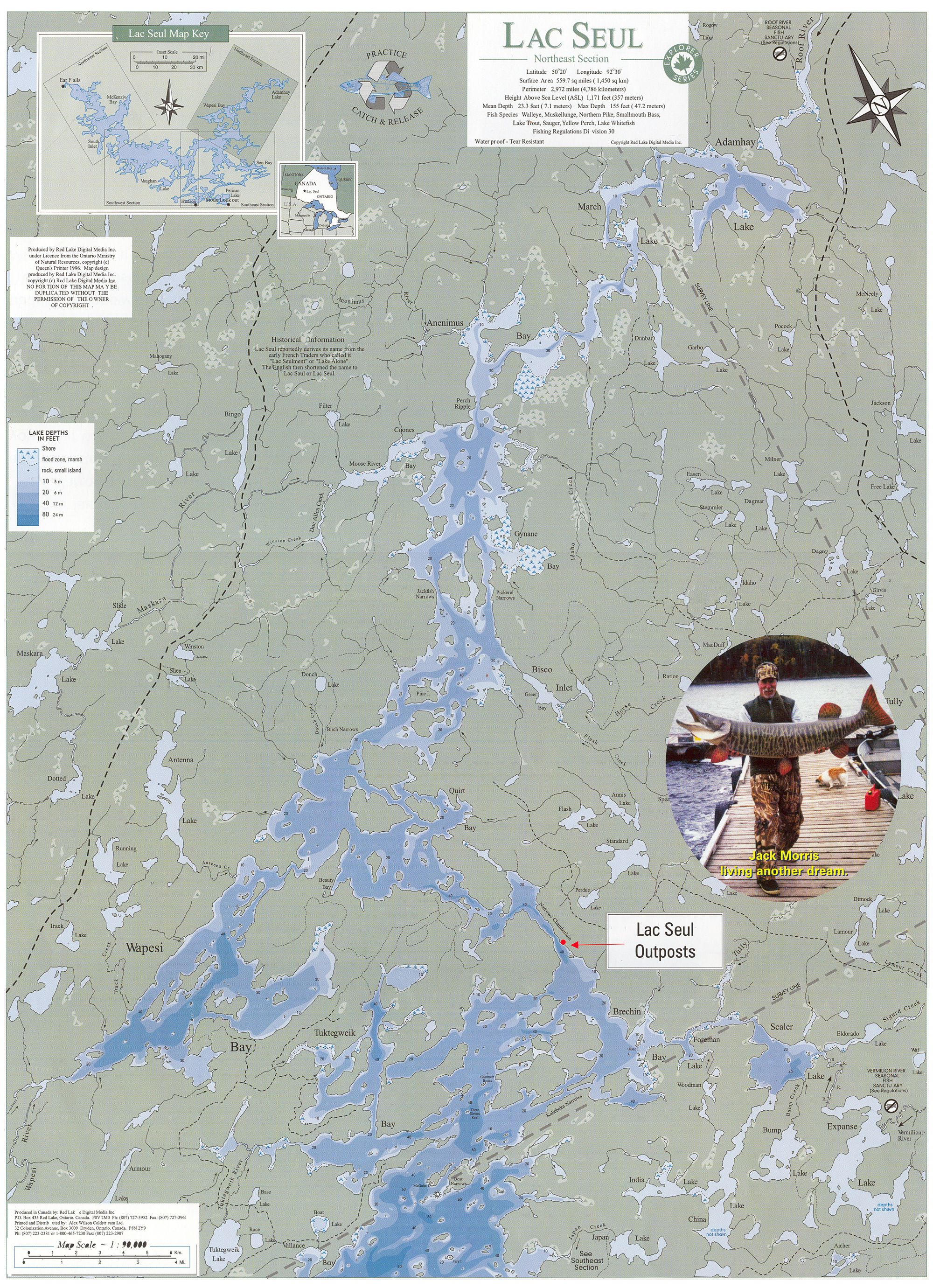 Map of lac seul for Lac seul fishing resorts