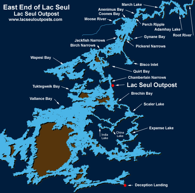 Map of lac seul for Ontario fishing resorts